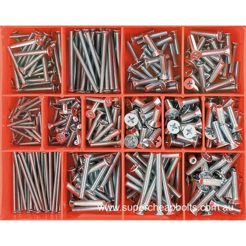 CA1786 (345 pieces) Countersunk Head Phillips Drive, Machine Screws, Zinc Plated. 13 Sizes: M3 to M6 Diameter - Lengths 16mm to 50mm