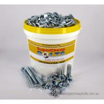 "AV03 (738 pcs) 24 Sizes 1/4"" to 3/8"" Diameter UNC Grade 5 High Tensile Bucket of Bolts Assortment of Zinc Plated Nuts, Bolts, Set Screws & Spring Washers."