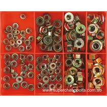CA100 (140 piece) Flange Nuts, Zinc and Zinc Yellow Plated, Metric Coarse and Metric Fine (Automotive AF's). M5 to M12 Coarse and M10 to M12 Fine
