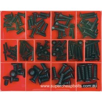CA1419 (124 pieces) Countersunk Socket Screws, Metric Coarse, High Tensile, Black Finish. 14 Sizes M4 to m8 Diameter - Lengths to 30mm