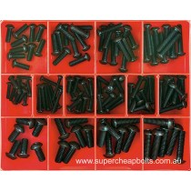 CA1420 (124 pieces) Button Head Socket Screws, Metric Coarse, Black Finish. 14 Sizes: M4 to M8 Diameter - Lengths to 30mm