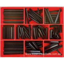 "CA1435 (89 pieces) Roll (Spring) Pins, Black Finish, Imperial. 12 Sizes 3/16"" to 3/8"" Diameter (Large Sizes)"
