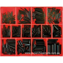 CA1715 (360 pieces) Roll (Spring) Pins, Black Finish, Metric. 18 Sizes M2 to M6 Diameter (Small Sizes)