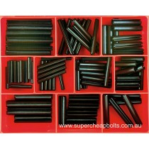 CA1725 (82 pieces) Roll (Spring) Pins, Black Finish, Metric. 12 Sizes M5 to M10 Diameter (Large Sizes)
