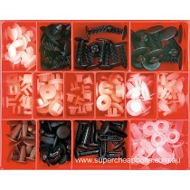 CA1735 (180 pieces) Plastic Screw Clips and Screw Grommets. 14 Sizes