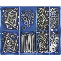 CA1800 (324 pieces) Bolts, Screws, Washers and Split (cotter) Pins, Fresh Water Grade 304/A2 Stainless Steel. 38 Sizes