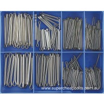 CA1850 (225 piece) Split (Cotter) Pins, Metric Fresh Water Grade 340/A2 Stainless Steel. 10 Sizes M1.6 to M5 Diameter