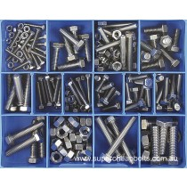 CA1870 (174 pieces) Set Screws and Nuts, Metric Coarse, Fresh Water Grade 304/A2 Stainless Steel. 13 Sizes M4 to M10 Diameter
