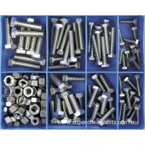 "CA1875 (140 pieces) UNC Set Screws and Nuts, Marine Grade 316/A4 Stainless Steel. 10 Sizes 1/4"" to 3/8"" Diameter"