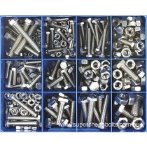 CA1885 (328 pieces) Set Screws and Nuts, Metric Coarse, Marine Grade 316/A4 Stainless Steel. 13 Sizes M4 to M10 Diameter. Lengths: 16mm to 50mm