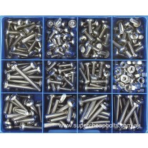 CA1888 (345 pieces) Pan Head Phillips Drive, Machine Screws, Stainless Steel Marine Grade 316/A4. 14 Sizes: M5 to M6 Diameter - Lengths 10mm to 50mm