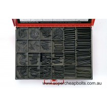 """CA2025 (364 pieces) Roll (Spring) Pins, Black Finish, Imperial. 24 Sizes 3/32"""" to 3/8"""" Diameter"""