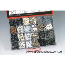 CA2265 (275 pieces) Plastic Screw Clips and Screw Grommets. 14 Sizes
