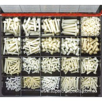 CA2788 (565 pieces) Nylon Bolts and Nuts, Hexagon, Metric Coarse. 19 Sizes: M5, M6 and M8 Diameter