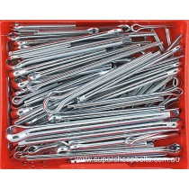 CA280 (93 pieces) Split (Cotter) Pins, Metric, Zinc Plated. 11 Sizes: M5 to M13 Diameter. Lengths to 150mm (Large Sizes)