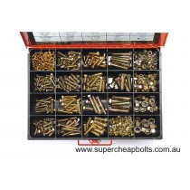 """CA36520 (346 pieces) UNF Bolts, Set Screws and Nuts. High Tensile, Zinc Plated. 16 Sizes: 1/4"""" to 1/2"""" Diameter."""