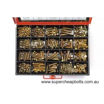 """CA370 (370 pieces) UNC Bolts, Set Screws and Nuts. High Tensile, Gr5, Zinc Plated. 16 Sizes: 1/4"""" to 1/2"""" Diameter."""