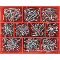 "CA502 (505 pieces) Rivets, Aluminium Body Steel Stem Zinc Plated, Open End. 10 Sizes: 3/32"", 1/8"", 5/32"" and 3/16"" Diameter"